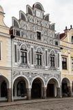 Główny plac w Telc, UNESCO miasto w republika czech Fotografia Royalty Free