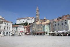 Główny Plac wioska Piran, Slovenia Zdjęcia Royalty Free