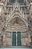 Główny portal katedra Nasz dama Strasburg Zdjęcie Royalty Free