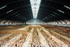 Główny widok Terakotowy wojsko Qin Shi Huang mauzoleum Zdjęcie Stock