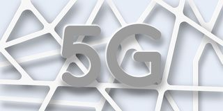 5g έμβλημα τεχνολογίας δικτύων στους ανοικτό γκρι τόνους στοκ φωτογραφία με δικαίωμα ελεύθερης χρήσης