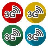 3G εικονίδια που τίθενται με τη μακριά σκιά Ελεύθερη απεικόνιση δικαιώματος