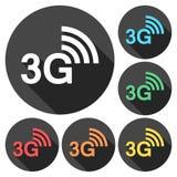 3G εικονίδια που τίθενται με τη μακριά σκιά Απεικόνιση αποθεμάτων