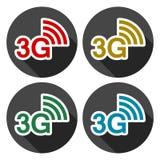 3G εικονίδια που τίθενται με τη μακριά σκιά Διανυσματική απεικόνιση