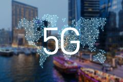 5g κινητά στοιχεία δικτύων διανυσματική απεικόνιση