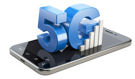 5G σημάδι στην έξυπνη τηλεφωνική οθόνη Κινητή τεχνολογία Ιστού υψηλής ταχύτητας Στοκ Εικόνες