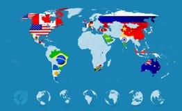 G20 σημαίες χώρας στο λεπτομερή παγκόσμιο χάρτη Στοκ Φωτογραφία