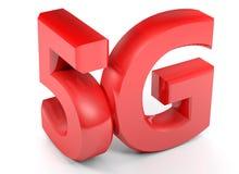 5G στους κόκκινους τρισδιάστατους χαρακτήρες στο άσπρο υπόβαθρο - τρισδιάστατη δίνοντας απεικόνιση ελεύθερη απεικόνιση δικαιώματος