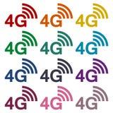 4G σύνολο αυτοκόλλητων ετικεττών Στοκ Εικόνες