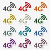 4G σύνολο αυτοκόλλητων ετικεττών Στοκ εικόνες με δικαίωμα ελεύθερης χρήσης