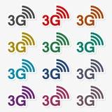 3G σύνολο αυτοκόλλητων ετικεττών Διανυσματική απεικόνιση