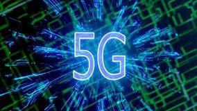 5G φουτουριστική ψηφιακή τρισδιάστατη ζωτικότητα 4K υποβάθρου τεχνολογίας διανυσματική απεικόνιση