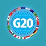 G20世界元素的国旗或旗子设计 库存例证
