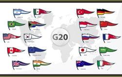 G20国家20面旗子  图库摄影