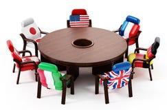 G7站立在圆桌附近的旗子 3d例证 皇族释放例证