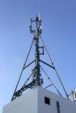 4G细胞站点、无线电铁塔或者手机基地 库存图片