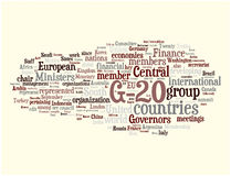 G-20 word cloud. Illustration. Graphic tag collection Royalty Free Stock Photos