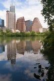 Gładka odbicia Austin Teksas miasta linii horyzontu Kolorado W centrum rzeka Fotografia Royalty Free