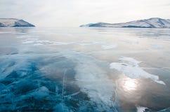 Gładki przejrzysty lód Jeziorny Baikal Zdjęcie Royalty Free