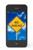 4g ahead sign with Mobile Phone Stock Photo