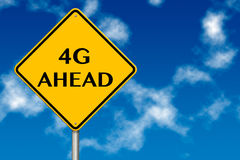 4G Ahead traffic sign. On a blue sky background stock illustration