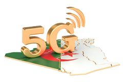 5G in Algeria concept, 3D rendering. Isolated on white background Stock Image