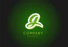 G alphabet letter logo green 3d company  icon design. G alphabet letter hand written hand writing green white logo 3d   creative company icon design template Stock Images