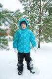 gå vinter för pojkepark Arkivfoto