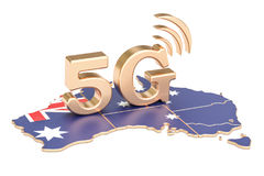 5G in Australia concept, 3D rendering. Isolated on white background Stock Image
