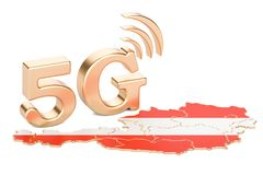 5G in Austria concept, 3D rendering. Isolated on white background Stock Image