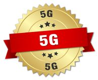 5g badge. 5g round badge with ribbon stock illustration