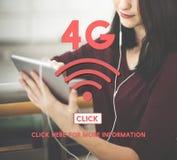 4G Bezprzewodowego Internetowego networking Online pojęcie Obrazy Royalty Free