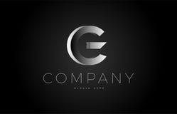 G black white silver letter logo design icon alphabet 3d Royalty Free Stock Photo