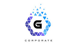 G Blue Hexagon Letter Logo with Triangles. G Blue Hexagon Letter Logo Design with Blue Mosaic Triangles Pattern royalty free illustration