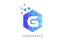 G Blue Hexagonal Letter Logo Design with Mosaic Pattern. G Blue Hexagonal Letter Logo Design with Mosaic Blue Pattern Vector Illustration