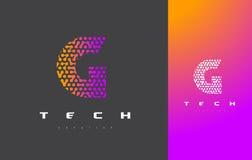G-bokstav Logo Technology FörbindelseDots Letter Design Vector Royaltyfria Bilder