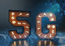 5g breedband op een futuristische achtergrond stock illustratie