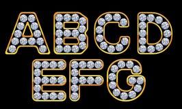 A-G brieven incrusted met diamanten Stock Afbeelding