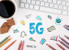 5G Business concept. White office desk Royalty Free Stock Photos