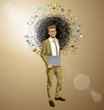 G-businessman hipster with laptop-ORIGINAL Stock Photos