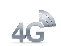 4G cellular high speed data connection concept logo. 3d renderin of 4G cellular high speed data connection concept logo Stock Photo