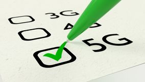 5G checklist green pen checking highspeed communication Stock Photography