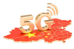 5G in China concept, 3D rendering. Isolated on white background Royalty Free Stock Photo