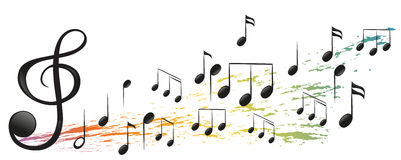 The G-Clef and the different musical notes Stock Photo