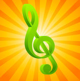 G clef on orange background Stock Photo