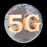 5G communicatie concept wereldwijd, globaal, het 3D teruggeven Royalty-vrije Illustratie