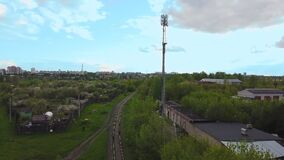 5 g communication tower for transmitting communication signals in the city okpvin