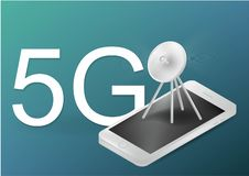 5G communication tower for wireless hi-speed internet. Mobile network technology in city life concept. LTE aerial connection with royalty free illustration