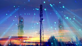 5G communication towers with antennas create virtual radio beams for transmitting information. Double exposure
