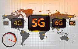 5G, 4G, 3G, 6G, 8G, con conectividad del mapa del mundo, indicador digital, ejemplos del vector de los conceptos de la tecnología stock de ilustración